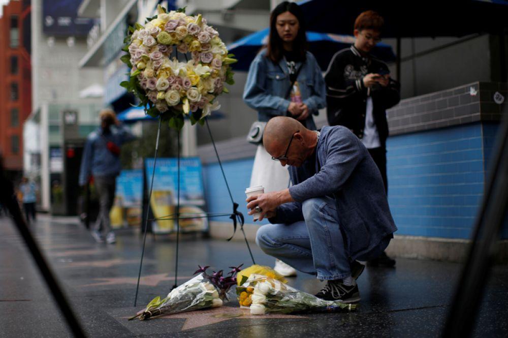 Мужчина стоит на коленях у звезды с именем Дорис Дэй на Голливудской Аллее Славы в Лос-Анджелесе. Дэй умерла 13 мая 2019 года.