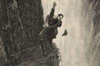 Шерлок Холмс и профессор Мориарти на водопаде Рейхенбах. Иллюстрация Сидни Пейджета к рассказу «Последняя проблема », появившаяся в журнале «Стрэнд» в декабре 1893 года. Фрагмент.