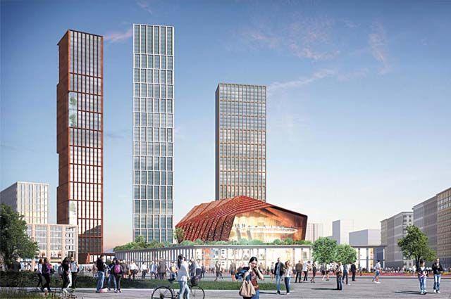 Напротив новых зданий гостиницы и МВД планируют возвести три разновысотных здания – от 51 до 66 этажей.
