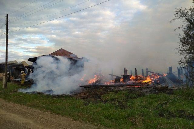 Когда пожарные прибыли на место, дом, кровля, баня и хозяйственные постройки на площади 184 квадратных метра, были охвачены огнём.