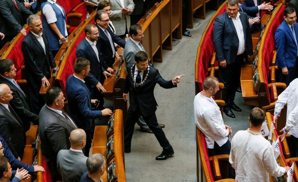 Президент Украины Владимир Зеленский после церемонии инаугурации в зале парламента в Киеве, Украина.