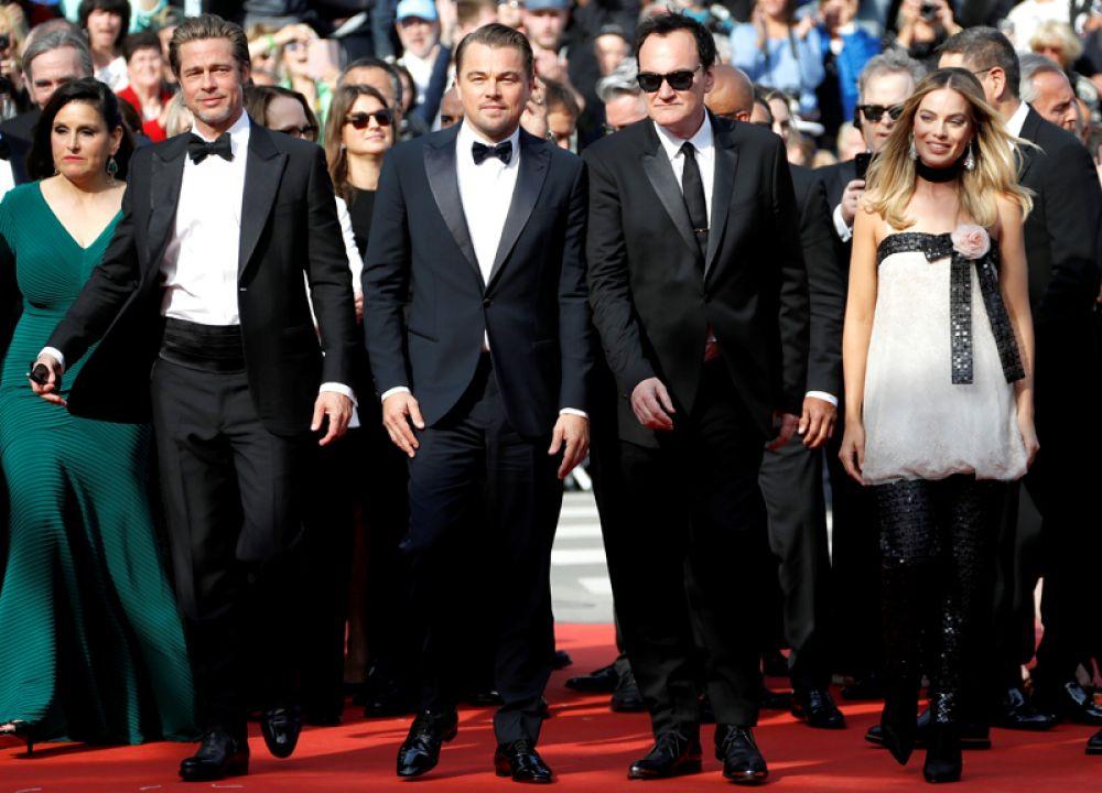 Премьерный показ фильма «Однажды в Голливуде» на 72-м Каннском кинофестивале. Режиссер Квентин Тарантино и актеры Брэд Питт, Леонардо Ди Каприо и Марго Робби.