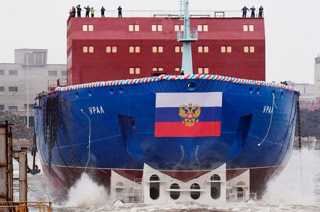 Новый атомный ледокол «Урал» спустили на воду в Санкт-Петербурге