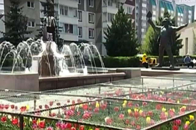 В Красноярске на Взлётке появилась антивандальная клумба с тюльпанами