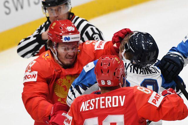 Матч ЧМ между сборными командами России и Финляндии.
