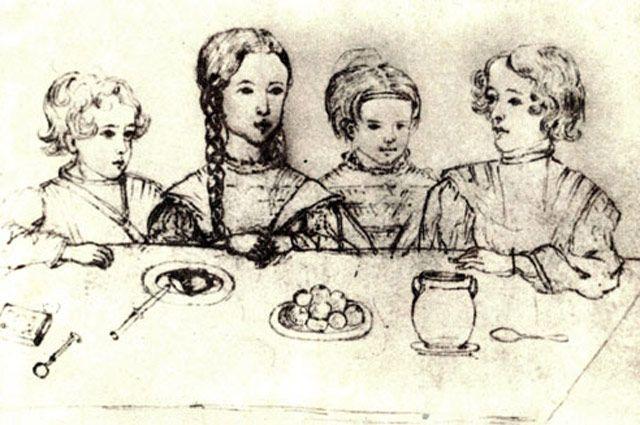 Дети А. С. Пушкина. 1839. Н. И. Фризенгоф, рисунок.