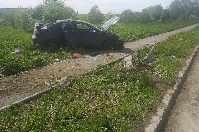 Автомобиль вылетел с дороги.