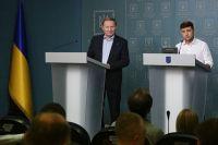 Леонид Кучма и Владимир Зеленский. Совместный брифинг в Киеве 3 июня.