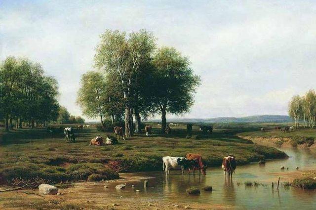 Михаил Клодт. Фрагмент картины «Стадо у реки в полдень»