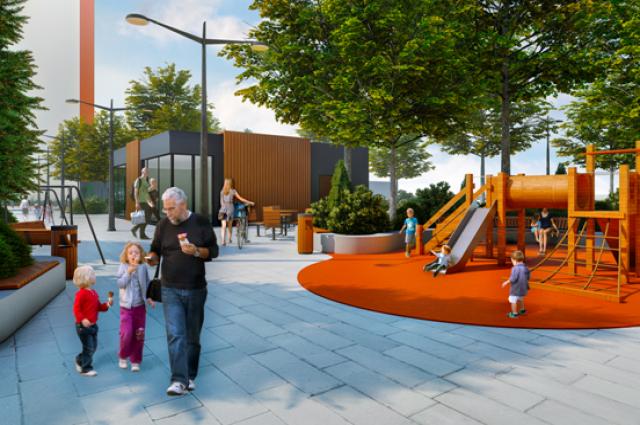 В жилом комплексе предусмотрены безопасные детские площадки и удобные прогулочные зоны.