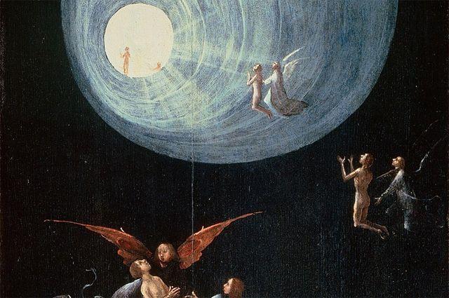 На картине Иеронима Босха «Восхождение в эмпирей», написанной в 1505 г., запечат- лён сюжет, который видели люди в момент клинической смерти, – полёт вверх в туннель с неким светящимся существом.