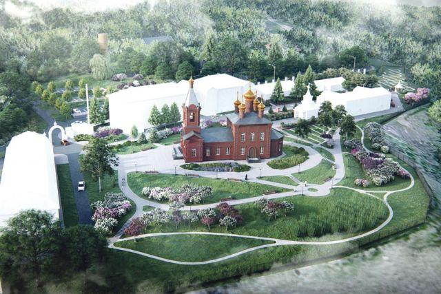 Так будет выглядеть Тихвинский храм и территория монастыря после реконструкции.