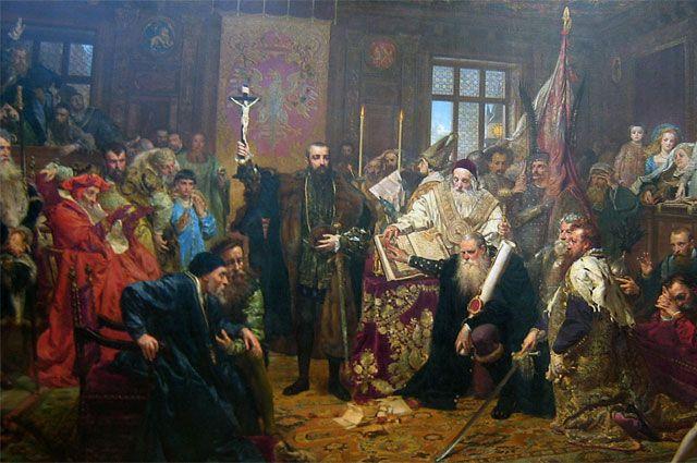 ЯнМатейко, «Люблинская уния». Картина написана в1869году, к300-летию заключения Унии.