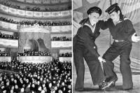 Даже в блокаду театр собирал полные залы (слева). Артисты Н. В. Пельцер и А. Г. Комков в сцене из спектакля «Раскинулось море широко» (Фото С. Струнникова, 1942),
