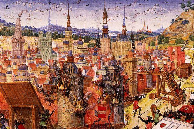 Средневековое изображение осады Иерусалима.