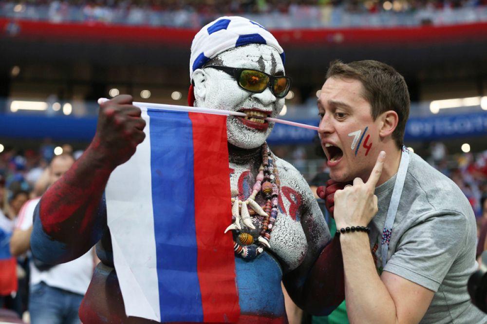 Болельщики сборной России радуются победе в матче 1/8 финала чемпионата мира по футболу между сборными Испании и России.