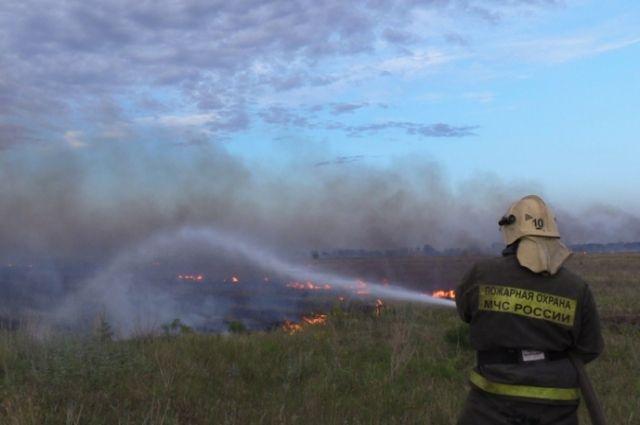 В Оренбургской области потушен большой пожар, пришедший из Казахстана.