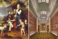 Посмертный портрет Дж.Доу (сидит), написанный его учеником В.А. Голике (стоит) в окружении семьи Голике (слева) и полотно Э.П. Гау «Виды залов Зимнего дворца. Военная галерея 1812 года», 1862 г.
