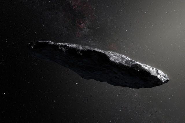 Первый известный межзвёздный астероид Оумуамуа в представлении художника.