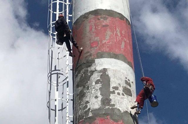 Завершается ремонт дымовой трубы на РТС «Балтийская»