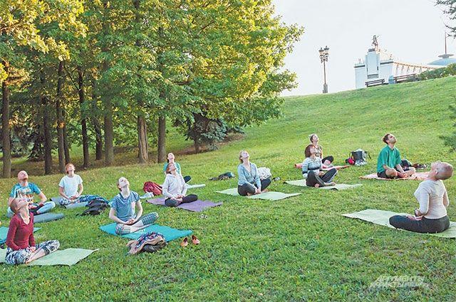 Йогой в парке Победы занимаются жители с разной физической подготовкой.