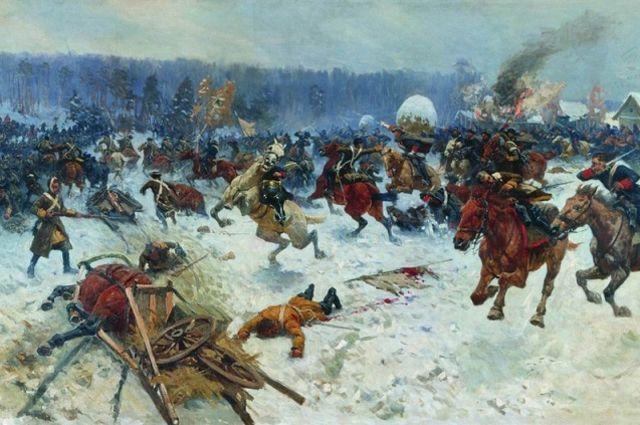 М. Б. Греков. «Атака шведов ярославскими драгунами у деревни Эрестфер 29 декабря 1701 года»