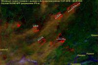 В Богучанском районе 10 крупных очагов пожара.
