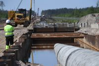 Участок строительства газопровода «Северный поток-2» в Ленинградской области.