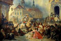Петр I усмиряет  своих ожесточенных солдат при взятии Нарвы в 1704 году.