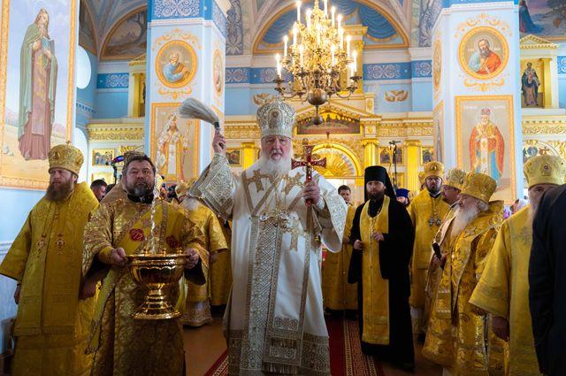Патриарх Кирилл освятил главный храм монастыря.