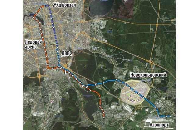 Трамвайная линия в Новокольцовский и Кольцово может стать главным транспортным проектом ближайших лет. Схема со страницы Facebook Владимира Злоказова