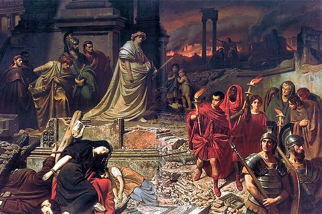 Нерон смотрит на горящий Рим. Карл Теодор фон Пилоти, 1861 г.