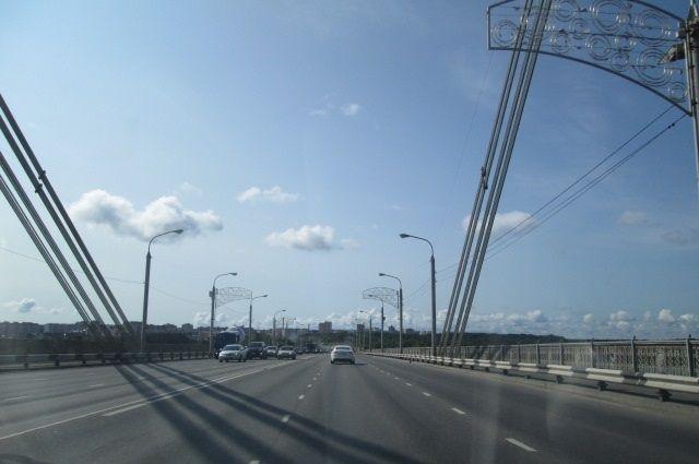 Женщина остановила движение на Октябрьском мосту ради котёнка.