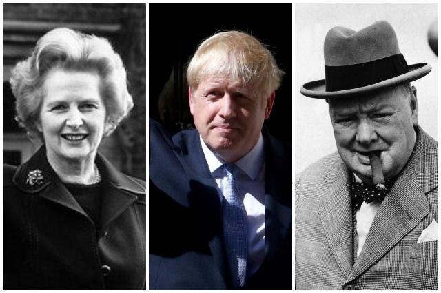 Маргарет Тэтчер, Борис Джонсон и Уинстон Черчилль.