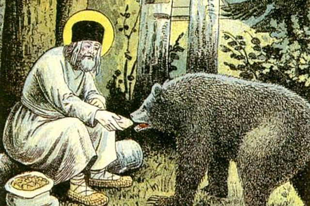 Серафим кормит медведя. Фрагмент литографии Путь в Саров, 1903 год.