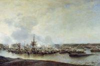 Алексей Боголюбов (1824-1896). Сражение при Гангуте 27 июля 1714 года. 1877. Холст, масло.