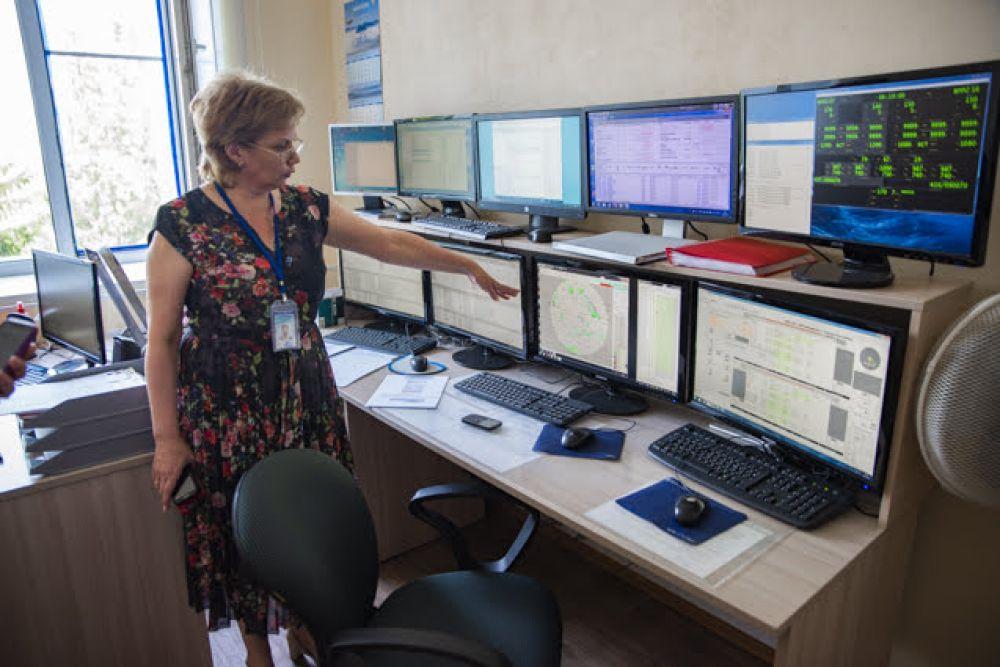 А это рабочее место инженера группы технического обслуживания. На мониторах выведена информация о состоянии телекоммуникационного и метеорологического оборудования.