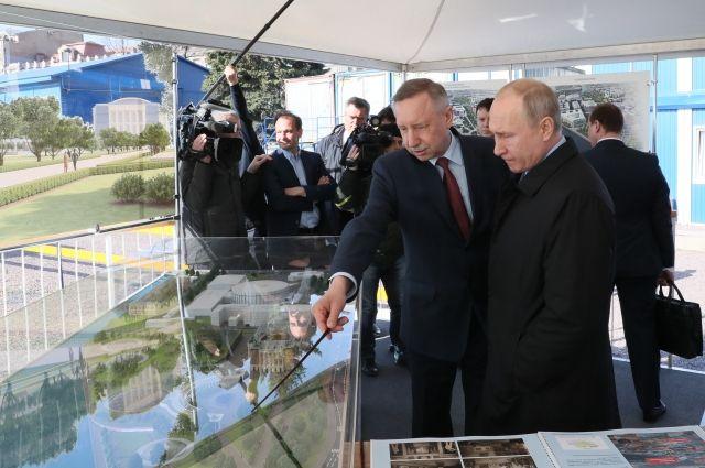 Александр Беглов представил президенту России Владимиру Путину проект театрально-выставочного комплекса и большой парковой зоны площадью 6 га в историческом центре города на Петроградской стороне.