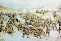 Начало боя войска Болотникова с царскими войсками у деревни Нижние Котлы под Москвой. Э. Э. Лисснер.