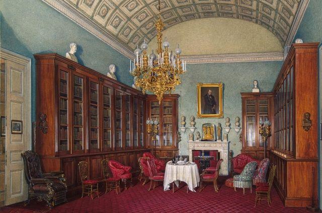 На акварелях художника Эдуарда Гау можно увидеть, как выглядело книгохранилище Александра II.