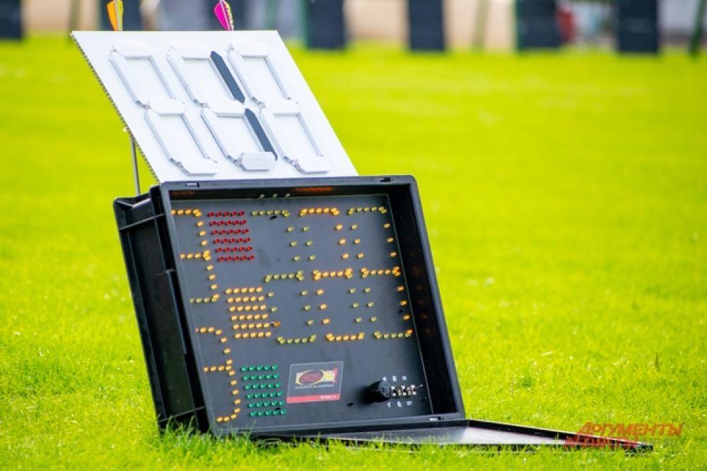 Специальное табло отмеряло время и давало участникам из разных групп сигналы для подхода к рубежу, начала и окончания стрельбы, а также выхода к мишеням