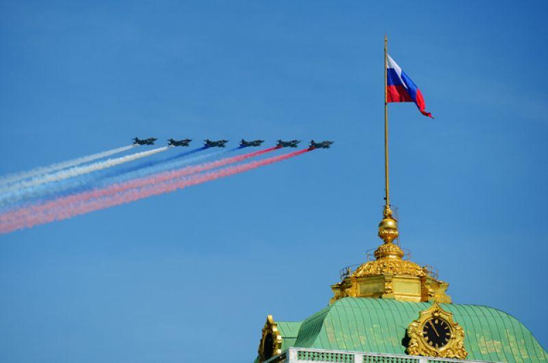 Штурмовики Су-25 во время воздушной части военного парада в Москве в честь 71-й годовщины Победы в Великой Отечественной войне 1941-1945 годов.