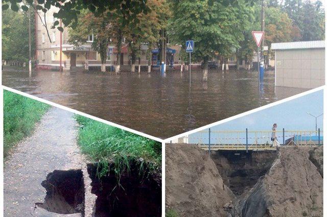 Залитая дождями Бежица и размытые дамбы возле Дворца Гагарина и Путёвки.