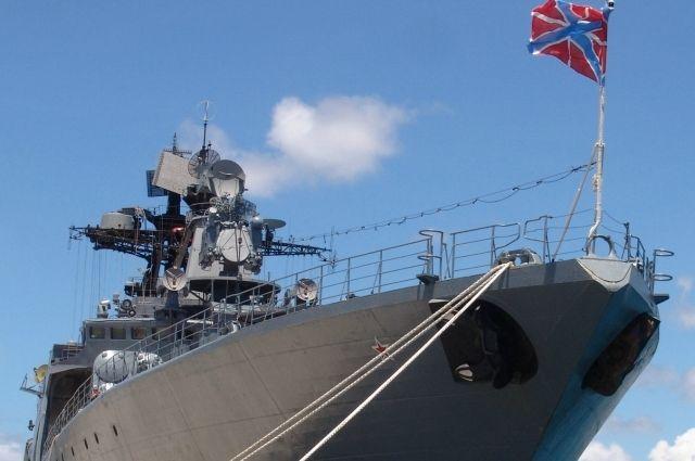 Большой противолодочный корабль «Адмирал Пантелеев» у причала.