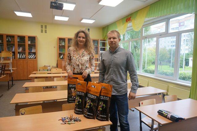 Вячеслав Марков и Юлия Скопец в пермской школе № 100.