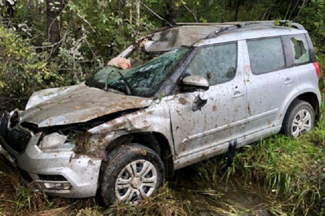 Автомобиль оказался в кювете после столкновения с животным на трассе.