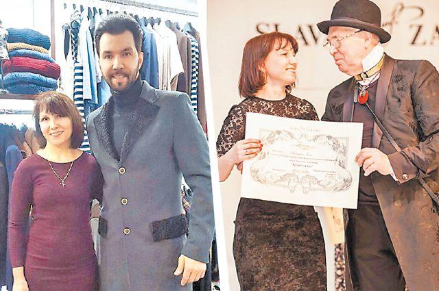Дизайнер Елена Брежнева со своим клиентом Денисом Клявером и коллегой Славой Зайцевым.
