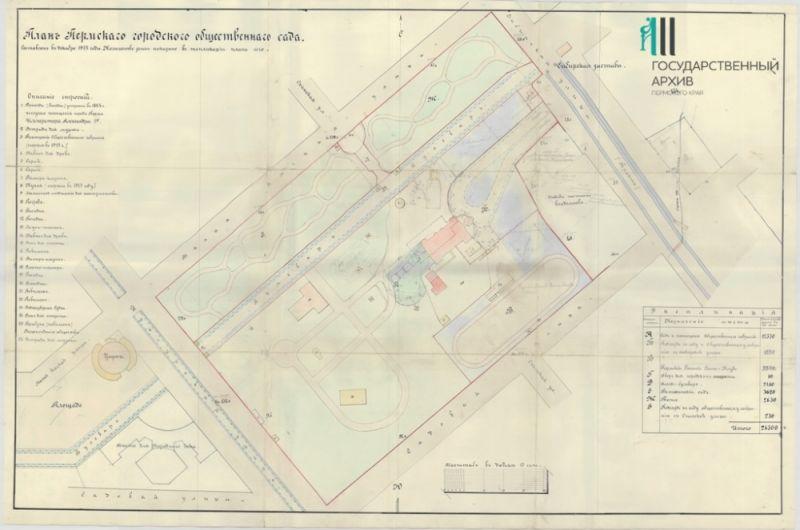 План Пермского городского общественного сада, 1913 год.