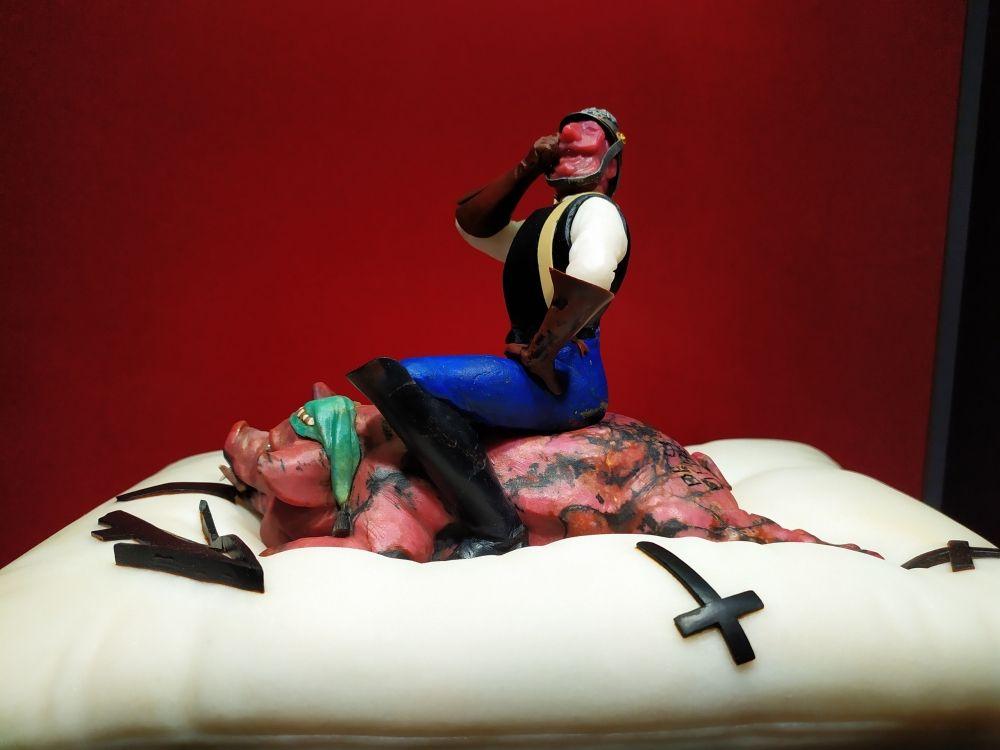 Аллегория Германии «Памятник Вильгельму». По замыслу художника, немецкий император, развязавший Первую мировую войну, восседает на свинье, а та в свою очередь, на мягкой перине.