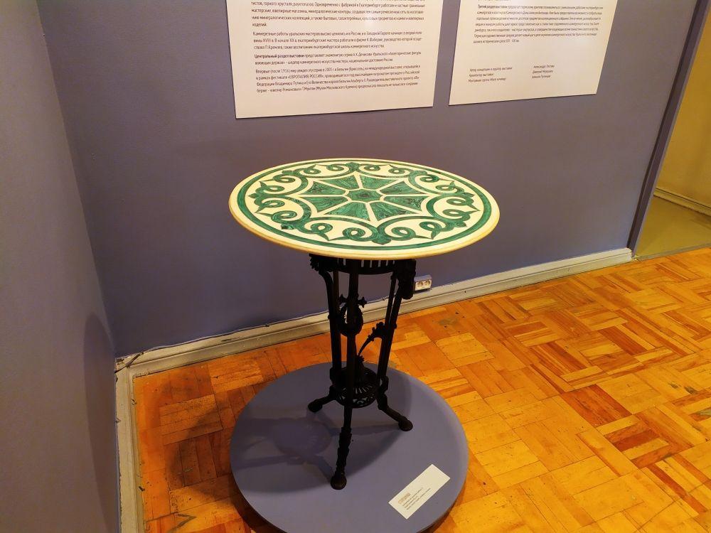 Столешница. Мрамор, малахит, мозаика, шлифовка, полировка. Вторая половина XIX века.